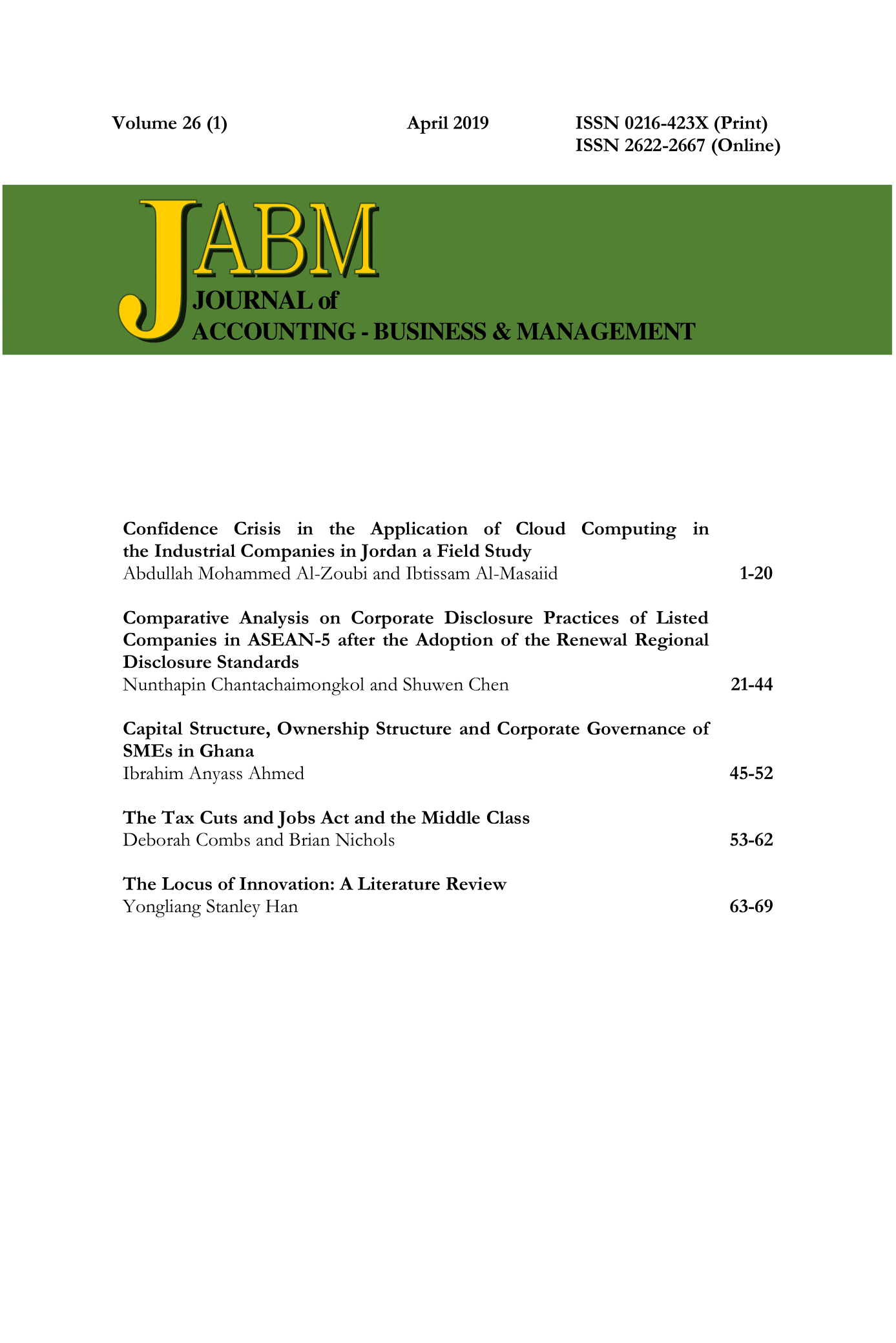 Journal of Accounting, Business and Management (JABM)